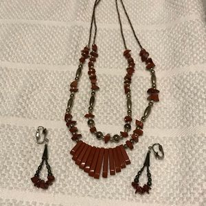 Stone and bead necklace and earrings set